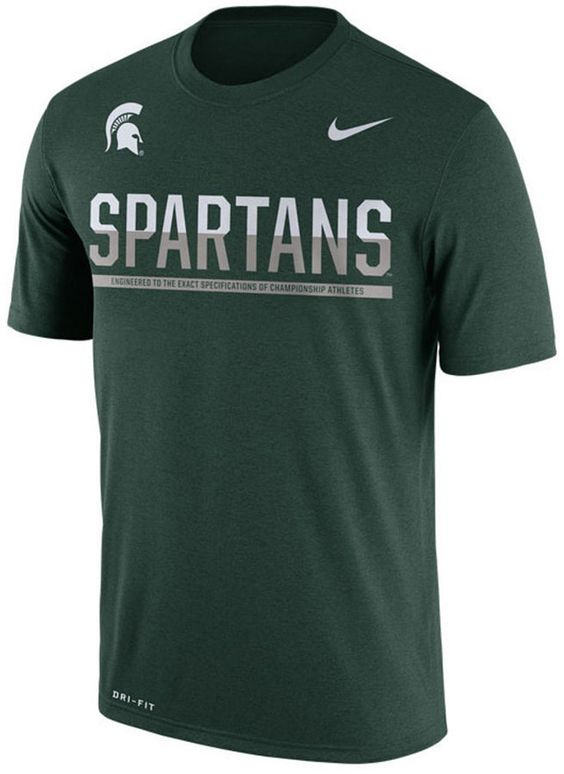 Support the Michigan State Spartans with this Nike men's NCAA Legend Staff Sideline T-shirt. The soft, moisture-wicking Dri-FIT technology keeps you comfortable all day long. Crew neck Short sleeves Screen print team graphic at front Screen print brand logo at top left Moisture-wicking Dri-FIT technology Regular fit Tagless Polyester Machine washable