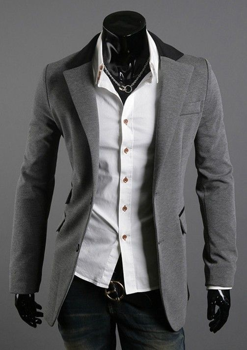 Color Piped Slim Blazer:
