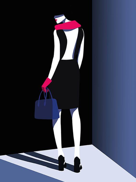 Illustration by #Mathilde © 2017  www.traffic-nyc.com  #littleblackdress #fuchsiascarf #fuchsiagloves #redlipstick #glamorous #fashion #fashionillustration #silhouette #silhouetteillustration