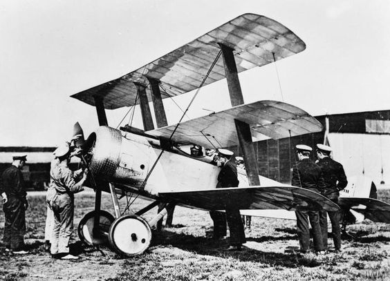BRITISH AIRCRAFT FIRST WORLD WAR. Sopwith Triplane Royal Naval Air Service prototype single seat flying scout at St Pol, June 1916. Serial number N500.