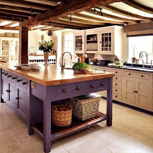 Purple Painted Country Kitchen ~ The island is just fabulous.  And not white! (ignoring the rest of the kitchen)
