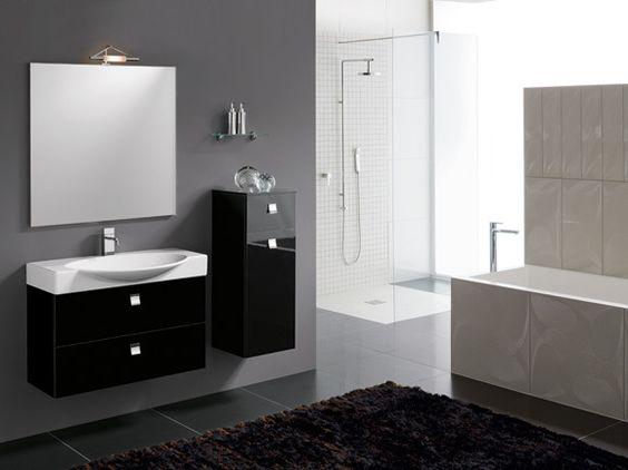 Bagno moderno in finitura nero lucido completo di base ...