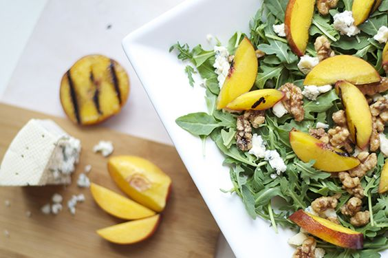 Grilled Nectarine, Gorgonzola and Arugula Salad
