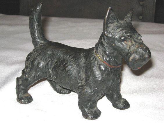 ANTIQUE HUBLEY SCOTTY DOG DOORSTOP CAST IRON HOUSE GARDEN STATUE ART DOORSTOP