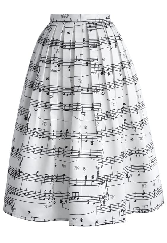 Dance With Music Notes Pleated Midi Skirt - Skirt - Bottoms - Retro, Indie and Unique Fashion: