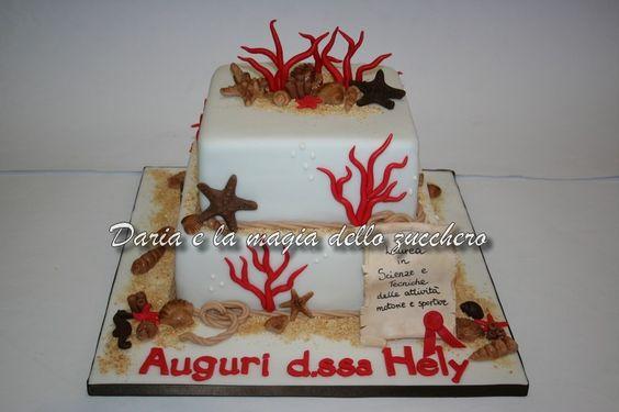 #Torta mare #Torta laurea #Sea cake #Torta coralli #Coralli #Stelle marine #Starfish #Conchiglie