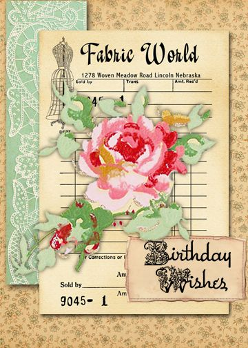 Photoshop Friday Tutorial by Sheila Rumney showing how to use PSE to create a Digital E-card for a friends birthday using papers and flower from CD 7 Sew Decorative and 'Best Wishes' sentiment from Garden Girls Digital Stamp Download