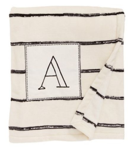 Plush Stripe Monogram Throw Blanket