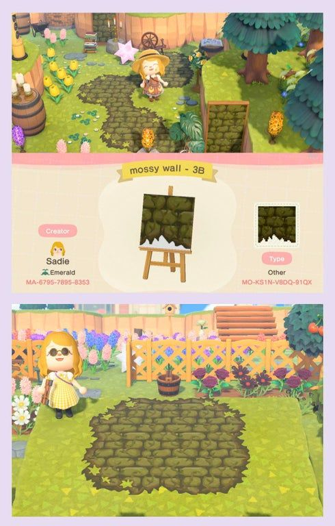 Mossy Wall Is My Favorite Wallpaper So I Made A Mossy Brick Design That Can Be Used On Simple Panels Animal Crossing Qr Animal Crossing Game Animal Crossing