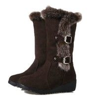 snow boots winter shoes for women wedge heel botas de invierno botas mujer botte femme non slip