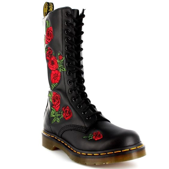 Womens Dr Martens Vonda Black Leather Combat Roses Lace Up Mid Calf Boots UK 3-8 in Kleidung & Accessoires, Damenschuhe, Stiefel & Stiefeletten | eBay