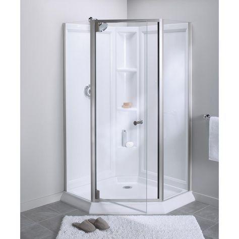 Sterling Solitaire Economy 42 In X 29 7 16 In X 78 1 4 In Corner Shower Kit With Shower Door In White Nickel Corner Shower Corner Shower Kits Shower Doors
