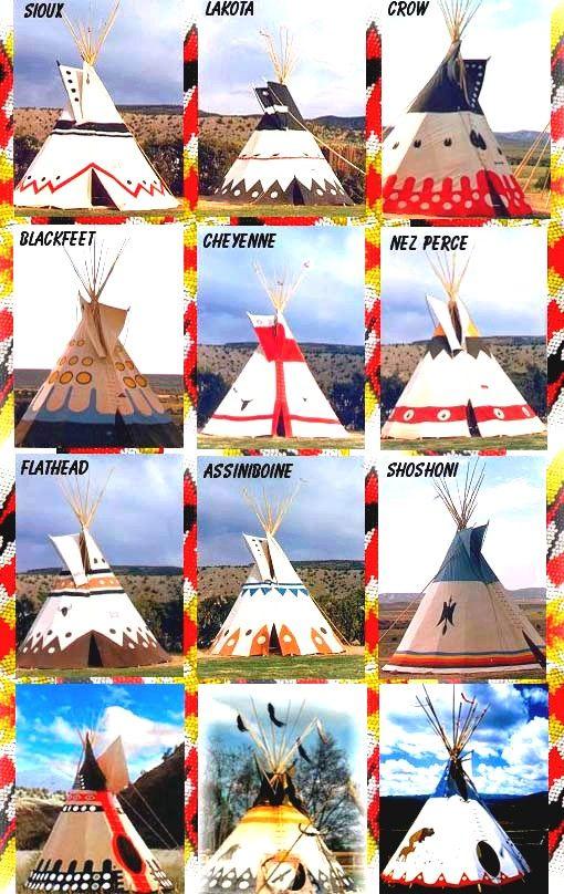 La signification des couleurs varie d'une tribu à l'autre.Le bleu, Le rouge et le le jaune peuvent signifier qu'il y a des objets sacrés dans le tipi. Le noir exprime la nuit, le bleu le Nord, le rouge l'aube du soleil levant, et le jaune le crépuscule. L'intérieur peut aussi être peint avec des bandes décoratives, des fresques évoquant des conquêtes passées ou d'autres évènements personnels importants.:
