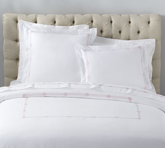 Emilia Embroidered Organic Percale Duvet Cover Shams Organic Duvet Covers Duvet Covers Gray Duvet Cover