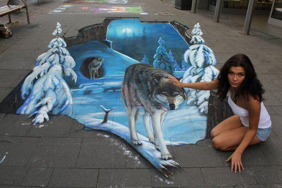 3D Street Art by Nikolaj Arndt - Petting a Wolf