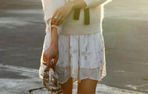 glittering skirt with angora sweater and black sik ribbon