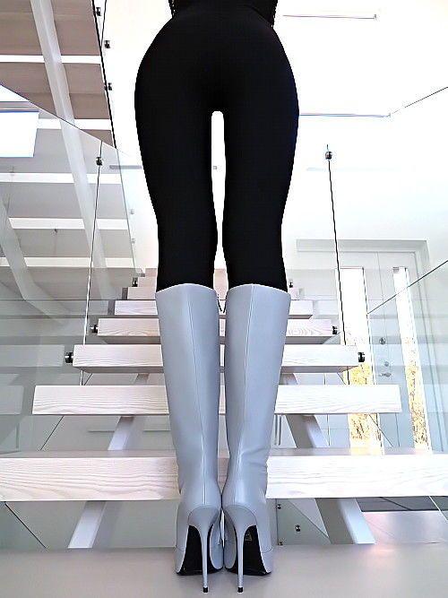 Damen Hohe Stiefel Grau Leder mit Zip Made in Italy