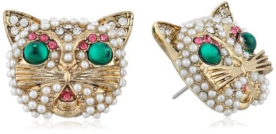 Betsey Johnson Gold-Tone Faux Pearl and Crystal Cat Button Stud Earrings -- $30