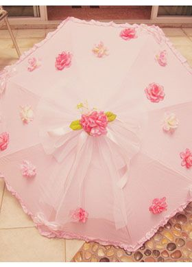 Pink rose lace Lolita Umbrella
