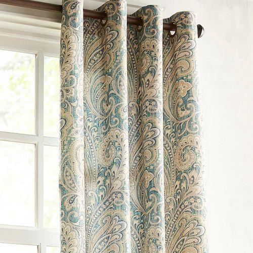 Seasons Paisley Grommet Teal 84 Curtain Paisley Curtains Teal