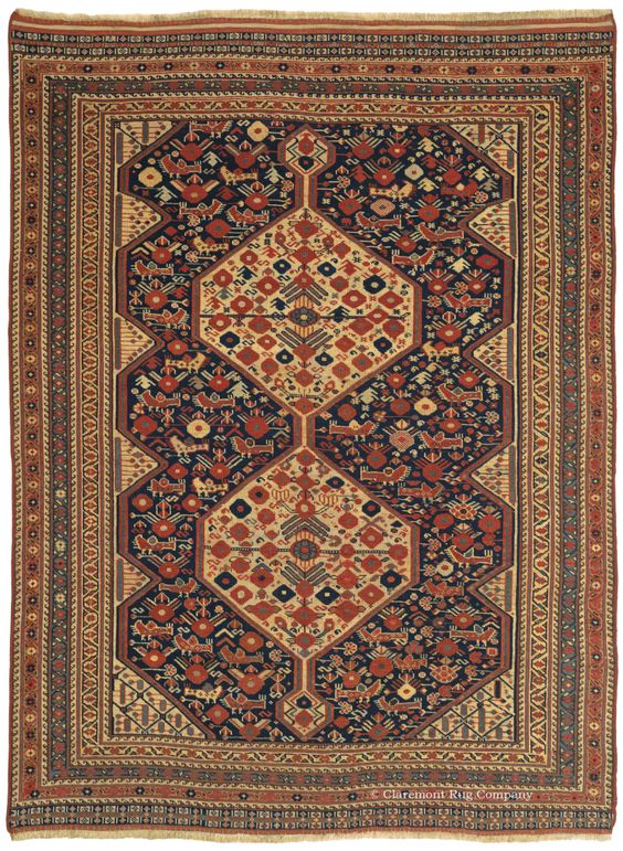 ARAB KHAMSEH, Southwest Persian 4ft 10in x 6ft 7in Circa 1875  http://www.claremontrug.com/antique-rugs-information/collecting/claremont-rug-companys-new-acquisition-highlights-antique-persian-rugs/arab-khamseh-4ft-10in-x-6ft-7in-circa-1875/