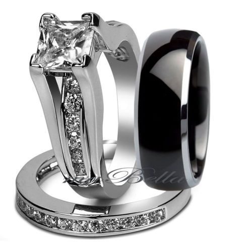 Black Wedding Rings Sets For Him And Her