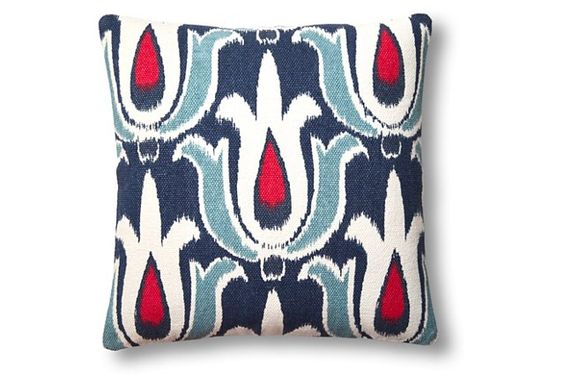 Tulip 20x20 Cotton Pillow, Blue