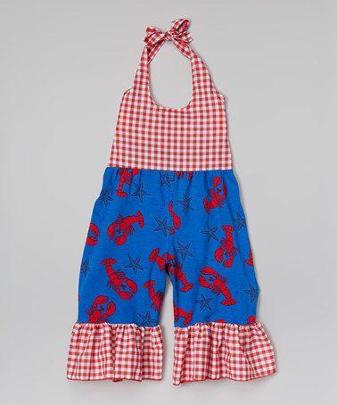 Another great find on #zulily! Blue Lobster Ruffle Halter Romper - Toddler & Girls #zulilyfinds