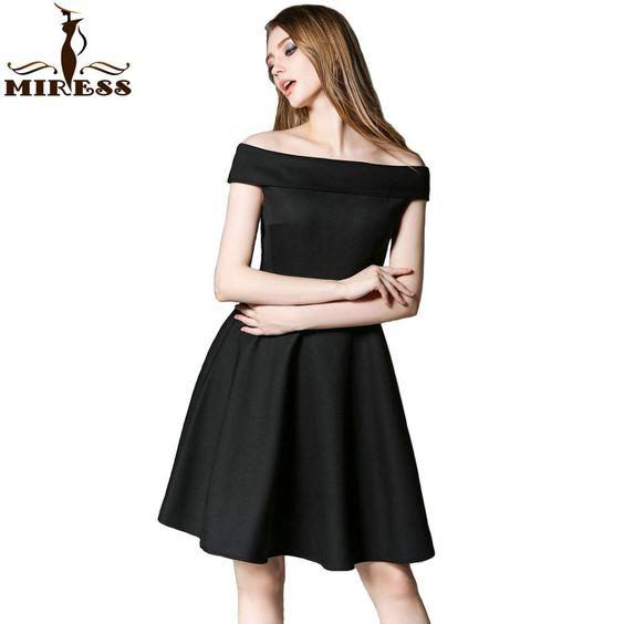 Audrey Hepburn 50s 60s Vintage Women Summer Dresses 2016 Retro Black Classic Off Shoulder Big Swing Mini Party Dresses MIRESS