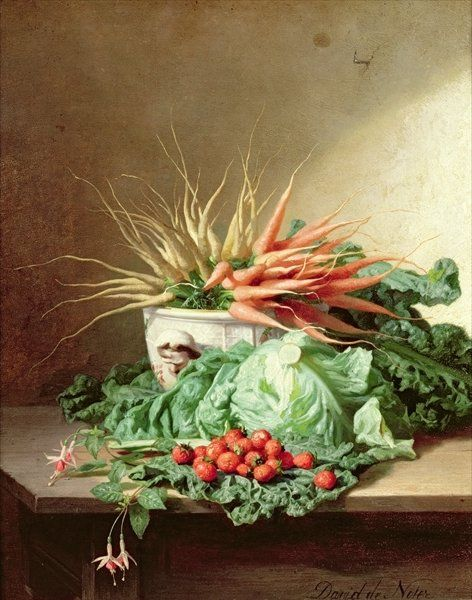 David Emil Joseph de Noter. Still Life of Strawberries, Carrots and Cabbage: