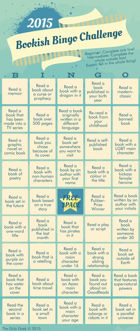 Fancy a game of BOOKISH BINGO? Image designed & bingo set up and hosted by by The Girly Geek Blog (http://the-girlygeek.blogspot.com.au) #books #bookchallenge #bookbingo