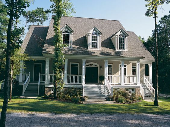 Plan front  Plantation homes and House plans on Pinterestlove the coloring and style    must have large back porch  sunroom