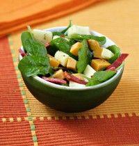 Salade de pousse d'épinard, chorizo et mimolette
