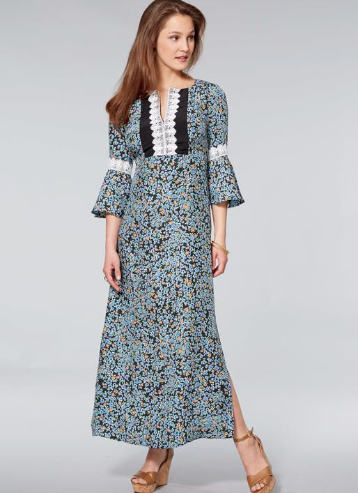 Kwik Sew K4215 Misses Dresses With Flounce Sleeves Sewing Pattern Vogue Dress Patterns Maxi Dress Pattern Boho Dress