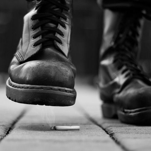 """She takes the cigarette out of his hand and flick it to the cobblestone ground. """"What the hell?"""" He asked. She stomped what was left of the emberlike light under her black boot. """"We have to talk. Alone."""""""