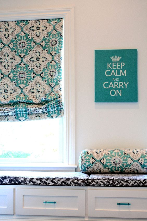 Turquoise & black color scheme window seat w/ storage (from Porter Design)
