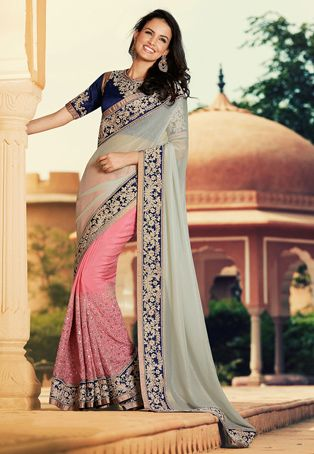Grey and Old Rose Shimmer Lycra and Faux Satin Chiffon Saree with Blouse