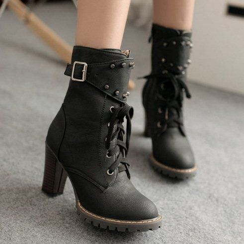 Ladies shoes Ankle boots heels Rivets Buckle Lace up Fashion Casual Women shoes…