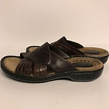 Clarks Artisan 6 M Brown Leather Open Toe Slip On Comfort Sandals Shoes 76806
