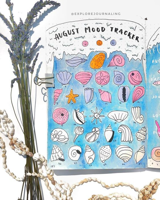 """A L L Y 在 Instagram 上发布:""""MOOD TRACKER 🌊 Decided to go back to the wave coming at ya perspective and it was such a challenge coming up w 31 different seashells 😩…"""""""