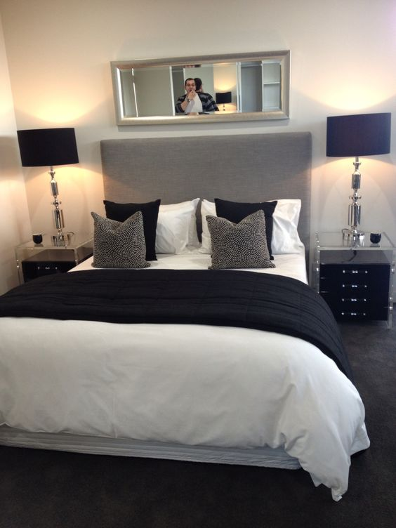 Guest rooms grey and chic on pinterest Black white and grey bedroom designs