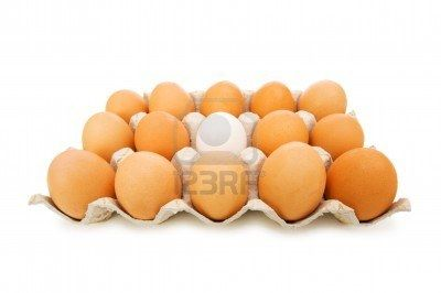 Stand out of crowd concept with eggs on white Stock Photo