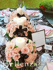 Parisian-inspired table setting - Pink rose centerpieces with candles & menu card