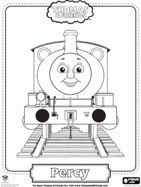 Percy, the youngest locomotive, green coloured and with the number 6. Percy is the best friend of Thomas coloring page