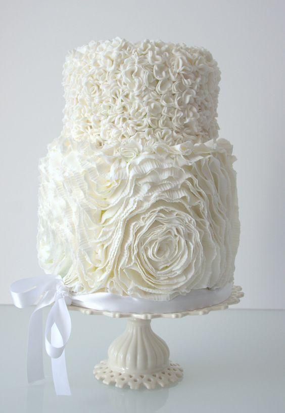 Fluffy, white, frilly, ribbon wedding cake by RooneyGirl BakeShop