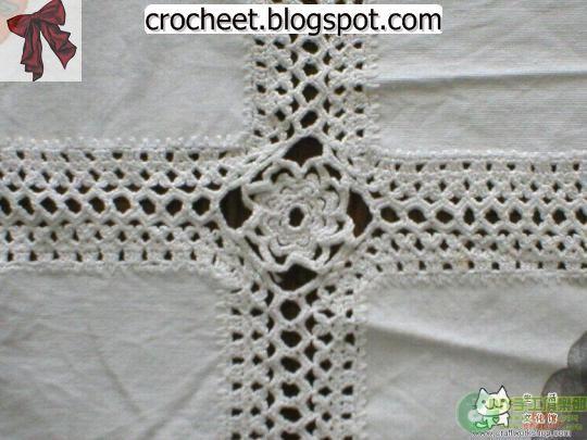 كروشية مع القماش مفارش كروشية اجمل مفارش كروشية Afghan Crochet Patterns Crochet Crochet Patterns
