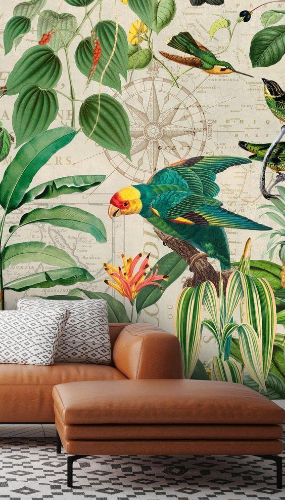 Kingdom Of Birds Wallpaper Mural By Andrea Haase Wallsauce Us Tropical Wallpaper Jungle Wallpaper Wallpaper Living Room