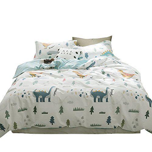 Enjoybridal Soft Cotton Queen Bedding Duvet Cover Sets Boys Girls Dinosaur Print Bed Cover Kids Bedding Sets Kids Bedding Sets Kids Bed Cover Kids Duvet Cover
