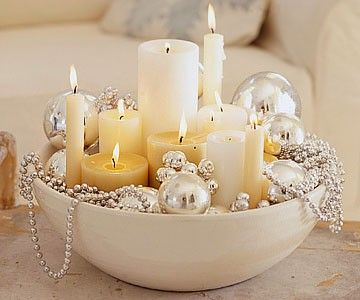 Candles And Ornaments Centerpiece: Create an elegant centerpiece for your coffee table or fireplace mantle using different height/size candles, ornaments and garlands. Group them together in a beautiful ceramic or clay bowl and voila you created a beautiful conversation piece.: