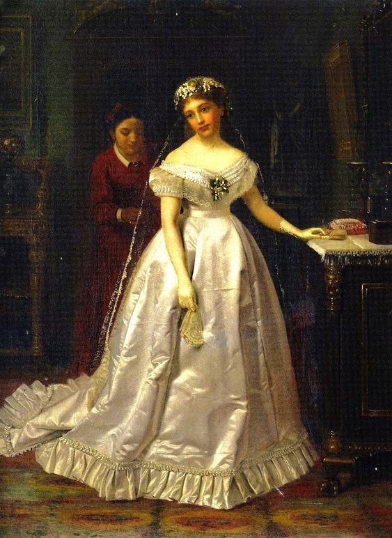 John George Brown (British-born American artist, 1831-1913) A Reluctant Bride: